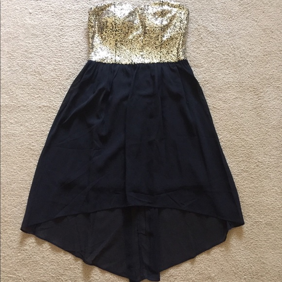 Delias Dresses Black And Gold Sequin Highlow Dress Poshmark